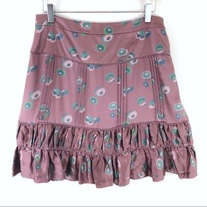 Marc Jacobs Mauve Floral 100% Silk Skirt Size 6